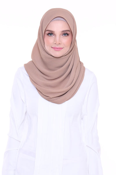 Lapez Solid Wide Pleated Mixed Crepe Silk Shawl - Oman
