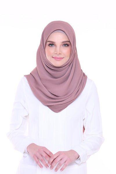 Lapez Solid Wide Pleated Mixed Crepe Silk Shawl - Petra ( Dusty Pink Brown)