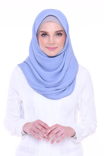Lapez Solid Wide Pleated Mixed Crepe Silk Shawl - Kapas (Sky Blue )