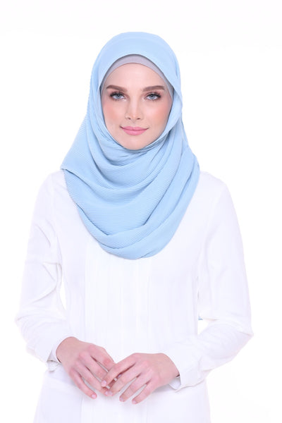 Lapez Solid 1.1m Wide (Middle) Pleats Mixed Crepe Silk Shawl  - Bahamas (Baby Blue )