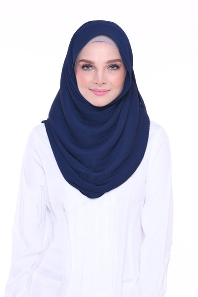 Lapez Solid Wide Pleated Mixed Crepe Silk Shawl - Panama ( Navy Blue )