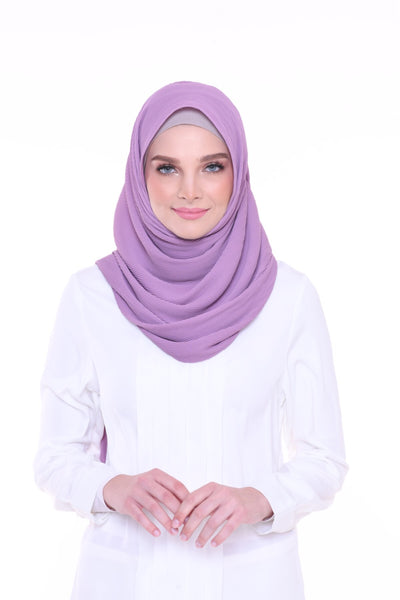 Lapez Solid Wide Pleated Mixed Crepe Silk Shawl - Orleans ( Purple )