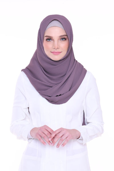 Lapez Solid Wide Pleated Mixed Crepe Silk Shawl - Rome ( Dusty Purple )