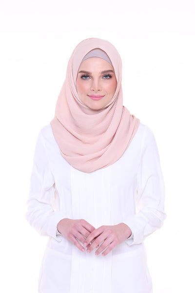 Lapez Solid Wide Pleated Mixed Crepe Silk Shawl - Dubai ( Light Sand )