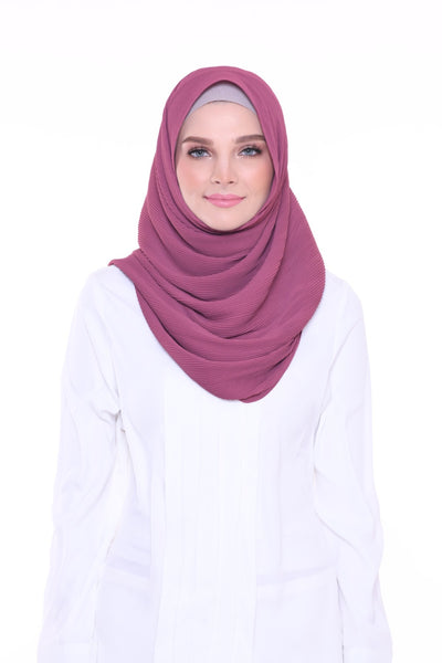 Lapez Solid Wide Pleated Mixed Crepe Silk Shawl - Morroco ( Light Mangosteen )