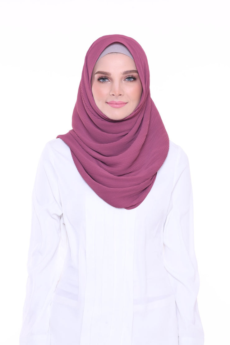 Lapez Solid 1.1m Wide (Middle) Pleats Mixed Crepe Silk Shawl - Morroco ( Light Mangosteen )