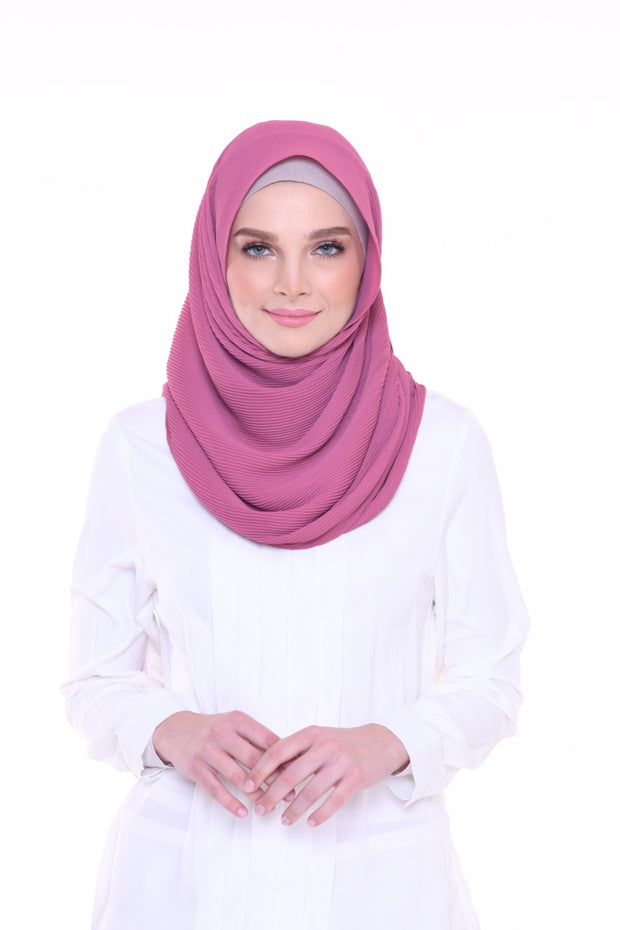 Lapez Solid 1.1m Wide (Middle) Pleats Mixed Crepe Silk Shawl - Sydney ( Raspberry )