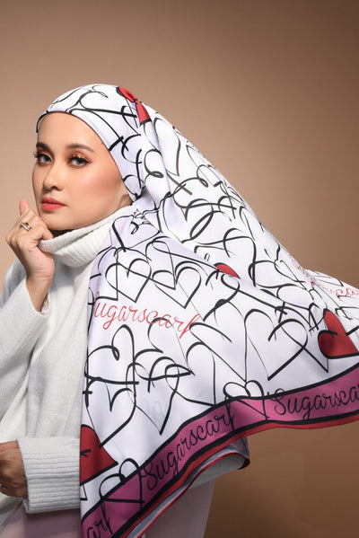 (Square) FOREVER Mix Satin Silk Scarf in MyLove Berry