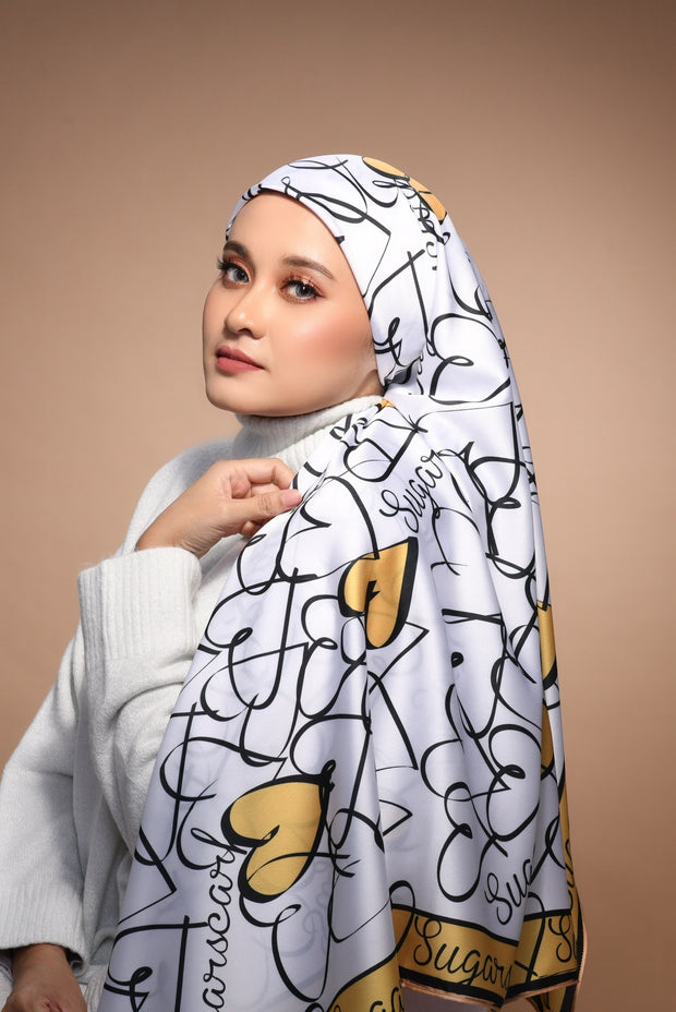 (Square) FOREVER Mix Satin Silk Scarf in MyLove Gold