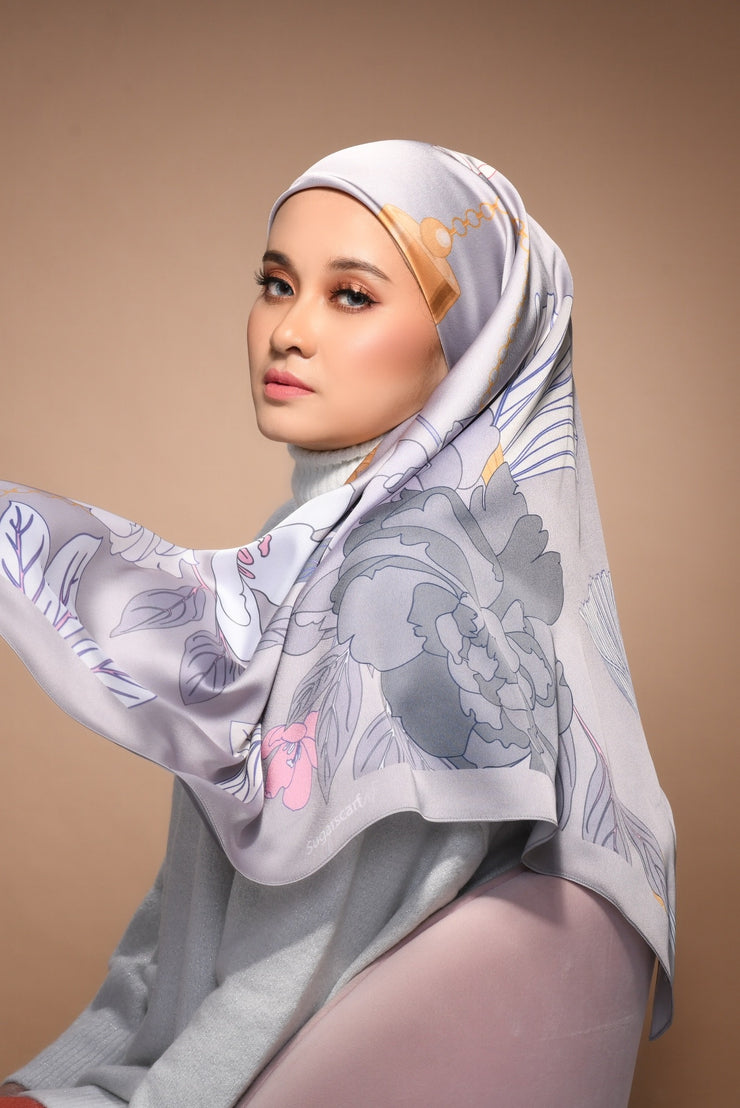(Square) FOREVER Mix Satin Silk Scarf in Say Anything