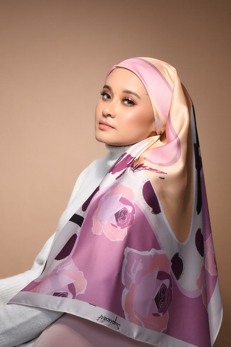(Square) FOREVER Mix Satin Silk Scarf in Isn't It Romantic