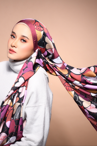(Shawl ) FOREVER Mix Satin Silk Scarf in Touch Your Heart