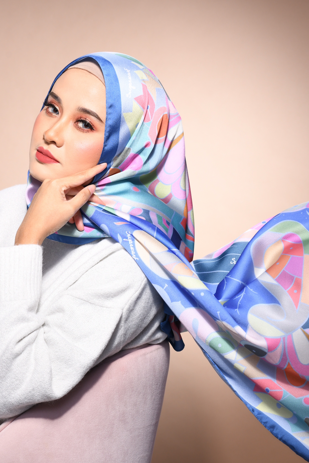 (Shawl ) FOREVER Mix Satin Silk Scarf in Best Friends