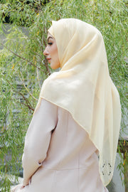 Sugarscarf Claudia Voile / Bawal Monogran Instant Tie Back Free Size ( Corn )