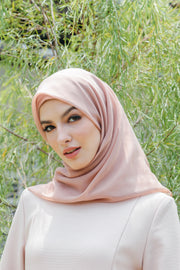 Sugarscarf Claudia Voile / Bawal Monogram Instant Tie Back Free Size ( Sand )