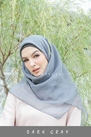 Sugarscarf Claudia Voile / Bawal Monogram Instant Tie Back Free Size ( Dark Gray )