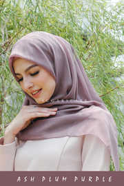 Sugarscarf Claudia Bawal Monogram Instant Tie Back Free Size ( Ash Plum Purple )