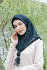Sugarscarf Claudia Voile / Bawal Monogram Instant Tie Back Free Size ( Black )