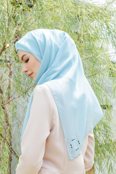 Sugarscarf Claudia Voile / Bawal Monogram Instant Tie Back Free Size ( Baby Blue )