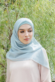Sugarscarf Claudia Voile / Bawal Monogram Instant Tie Back Free Size ( Dusty Green )