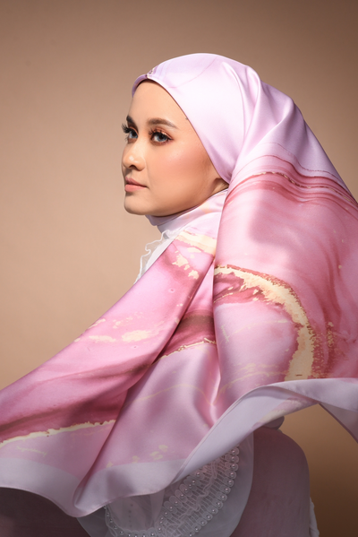 (Square) DOLCE Mix Satin Silk Scarf - SugarFrosty