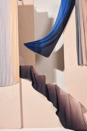 Riang Ombre Small Pleats Shawl - Biru Senandung