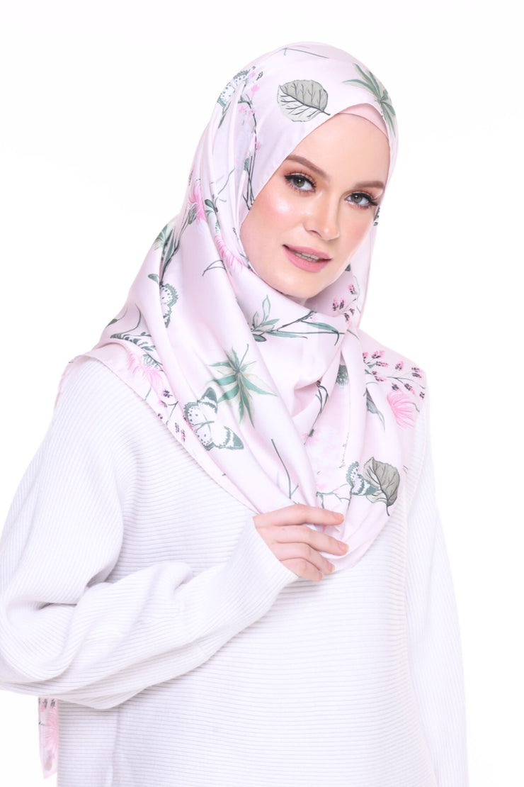 For the love of Prints Mixed Satin Silk ( Shawl ) - PinkFlowers