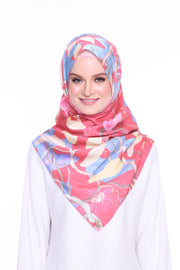 For the love of Prints Mixed Satin Silk ( Shawl ) - GlowingRed