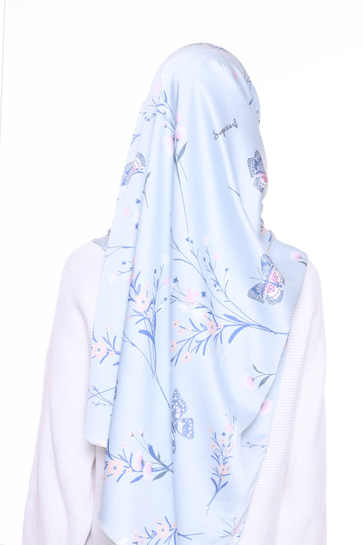 For the love of Prints Mixed Satin Silk ( Shawl ) - BlueButterfly