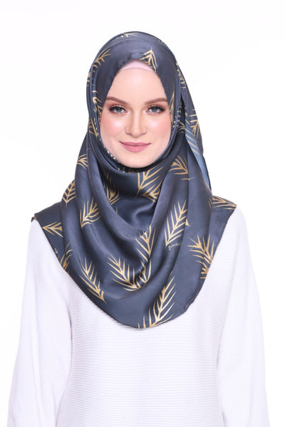 For the love of Prints Mixed Satin Silk ( Shawl ) - GoldBlue