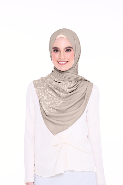 Long Shawl Flowy Chiffon PURE ( Khaki )