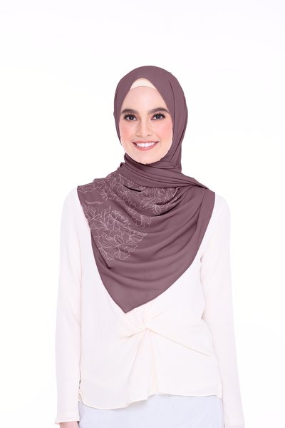 Long Shawl Flowy Chiffon PURE (Mauve Purple )
