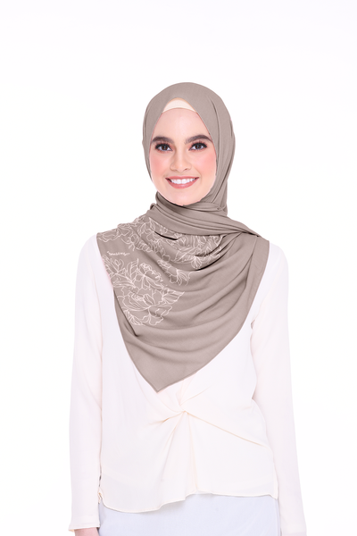 Long Shawl Flowy Chiffon PURE ( Coffee )