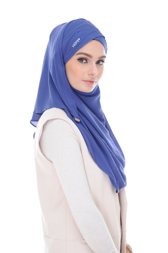 COTTON LONG SHAWL HOPE KATE TRUE NAVY - stones defect