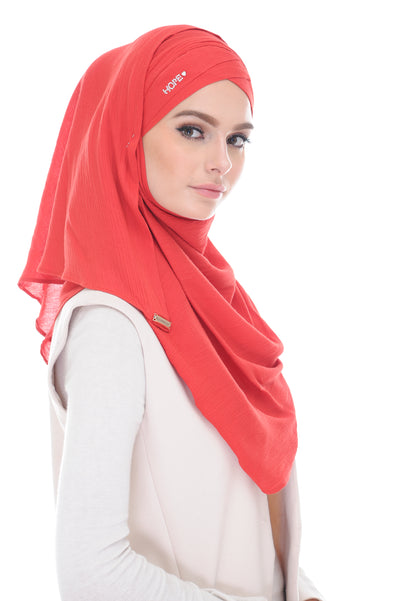 Ironless COTTON LONG SHAWL HOPE KATE RAISING RED - stones defect