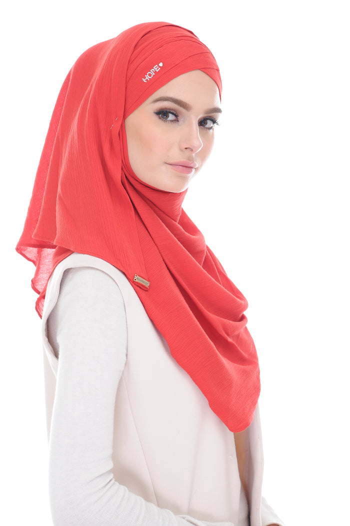 COTTON LONG SHAWL HOPE KATE RAISING RED - stones defect