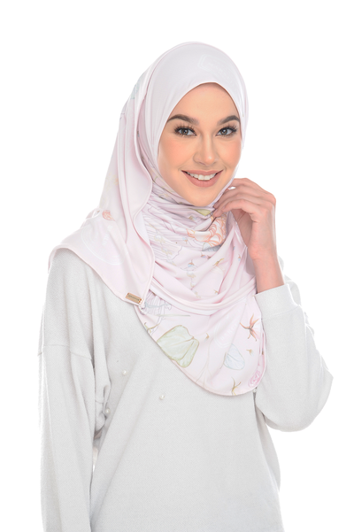 ( FrostPink Chic Traveller) Pinless Semi Instant Shawl - Criss Cross