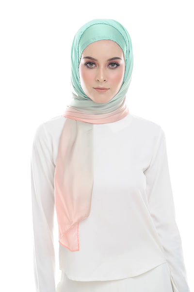 LONG SCARF TWILIGHT mixed satin silk ( CENDOL STRAWBERRY ) - Sugarscarf