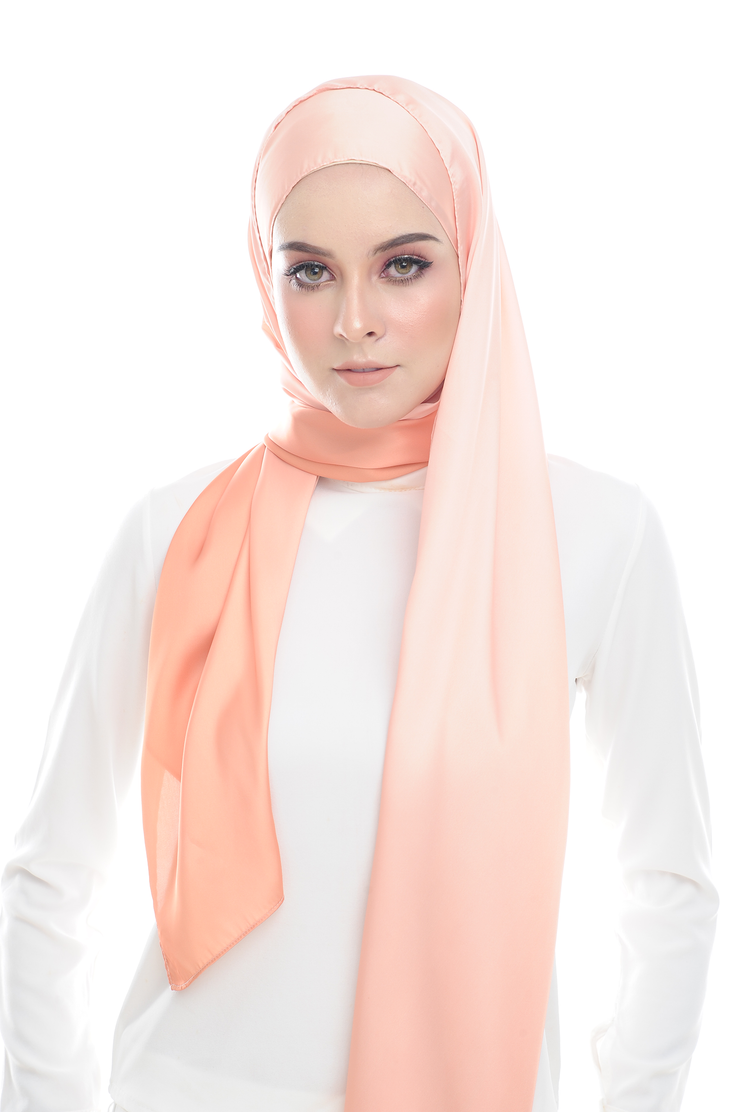 LONG SCARF TWILIGHT mixed satin silk ( DIDA ORANGE ) - Sugarscarf