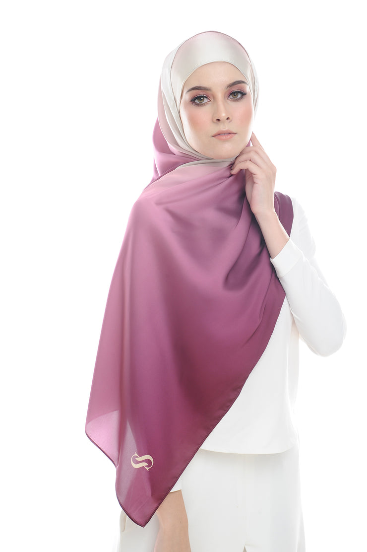 LONG SCARF TWILIGHT mixed satin silk ( MIXED RIBENA )