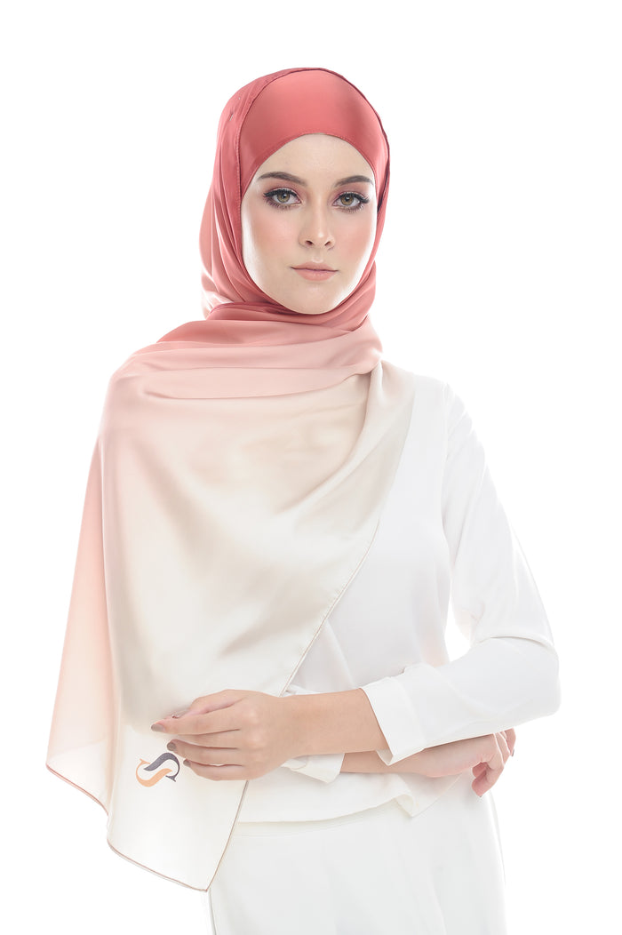 LONG SCARF TWILIGHT mixed satin silk ( ASAM BOI )