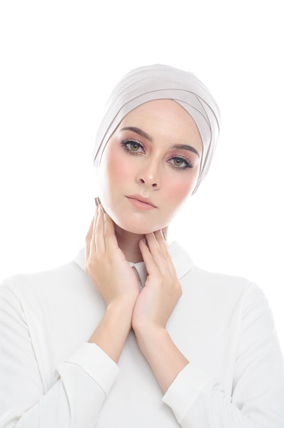 Classic Inner Hana Snow Cap ( No tie back ) - Layered Style ( Ash Gray ) - Sugarscarf