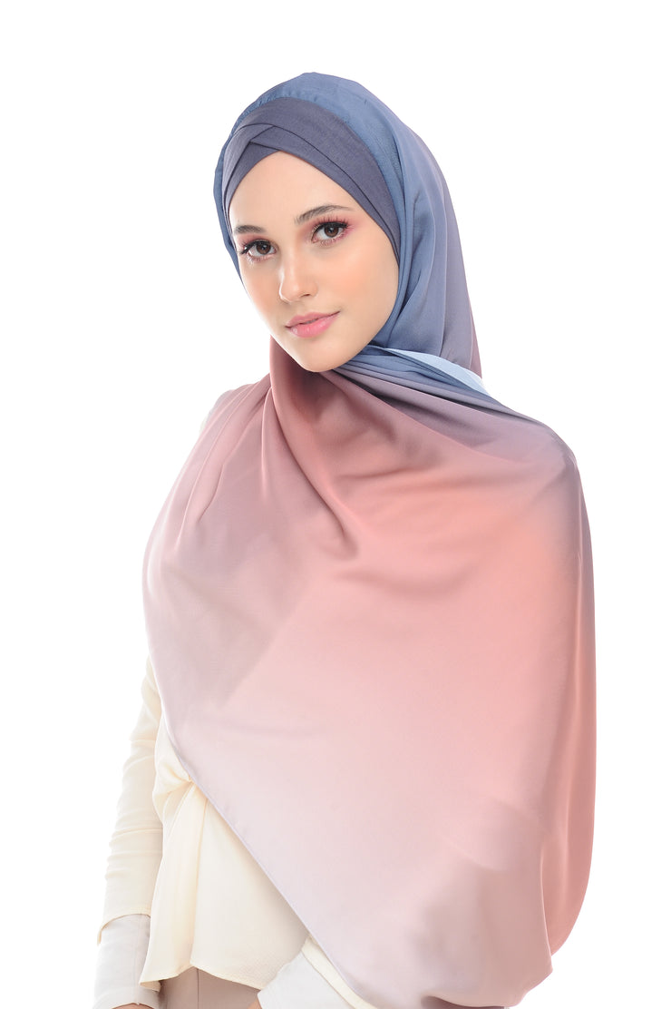 TWILIGHT SUNSET BLOOM MIXED SATIN SILK - SEMI INSTANT- (minimal defect <10%)