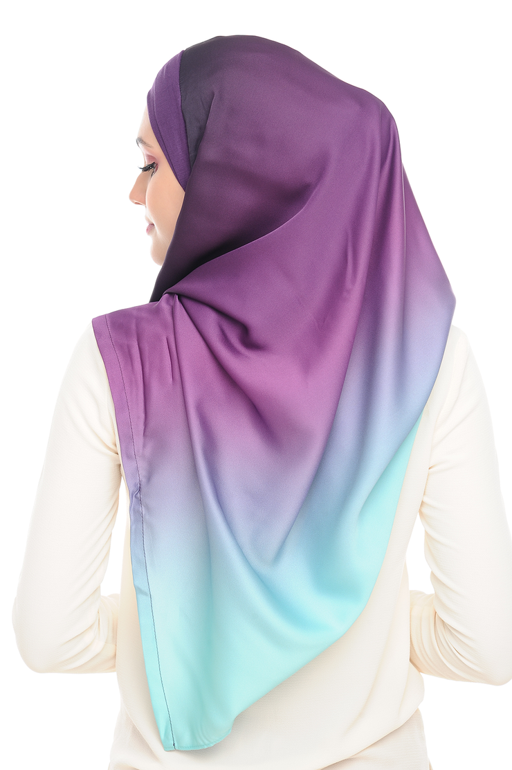 LONG SCARF TWILIGHT mixed satin silk Orchid Mist