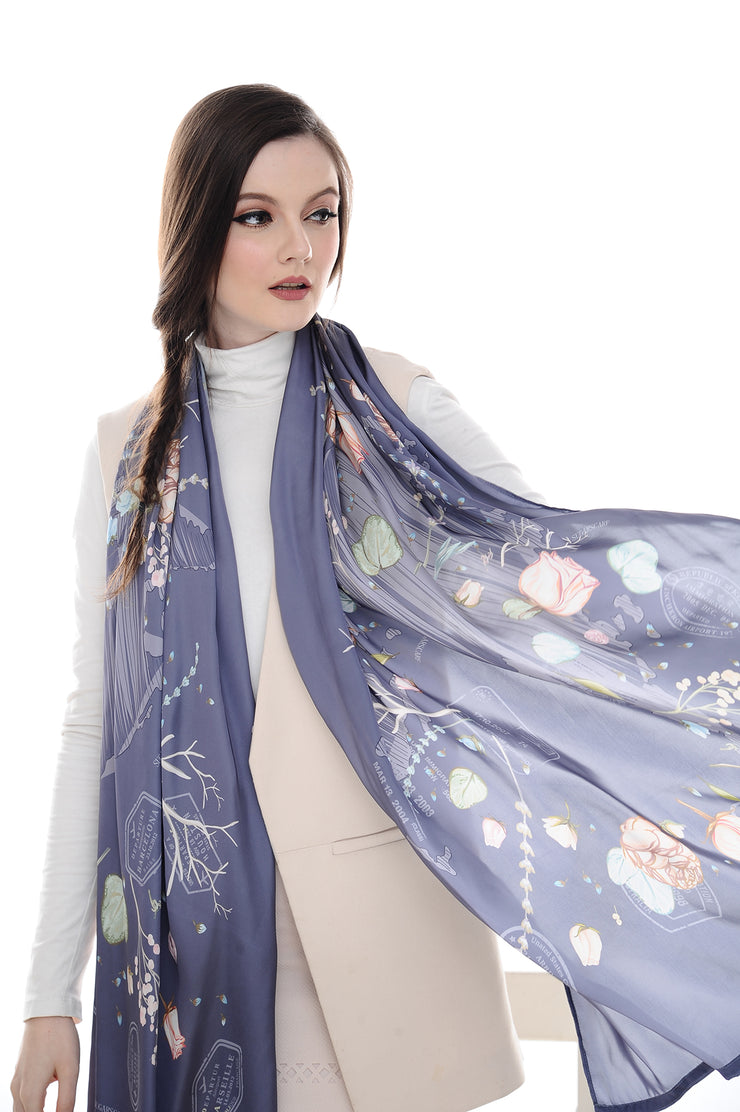 Long scarf Chic Traveller Mulled Grape - Sugarscarf