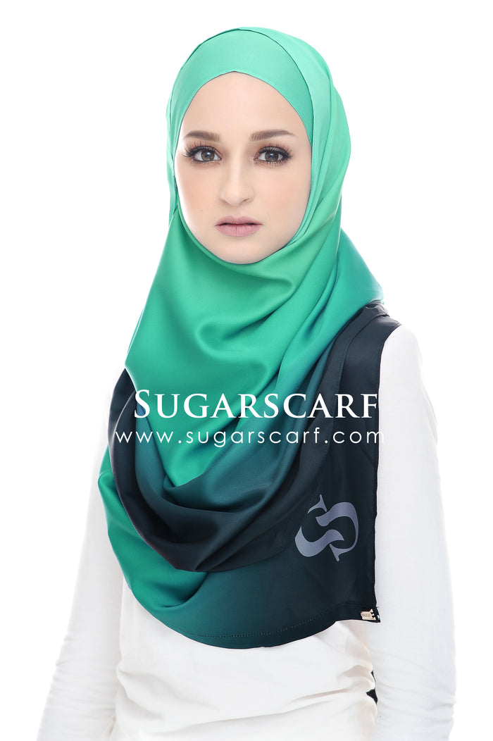 LONG SCARF TWILIGHT SEAFOAM GREEN MIXED SATIN MATTE