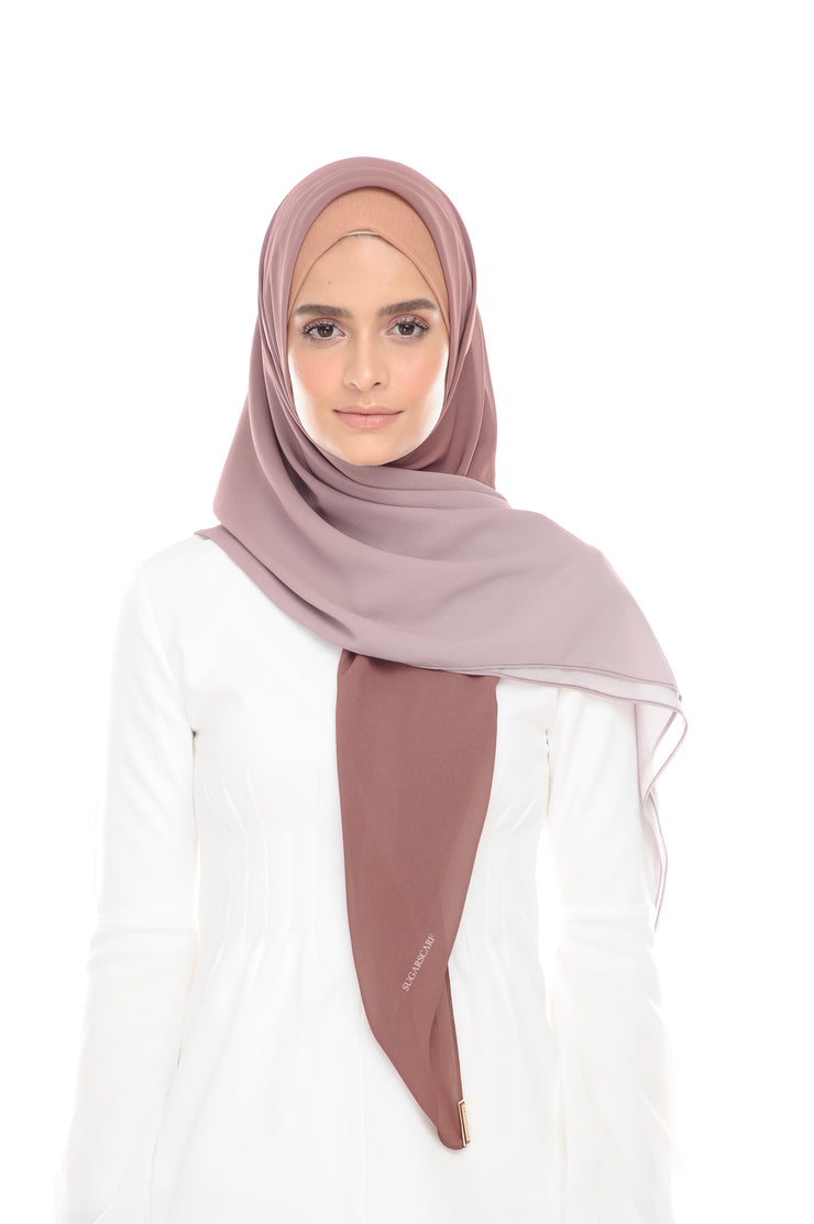Ombre Claudia 2-in 1-Instant  (Tan-Gray) - Chiffon