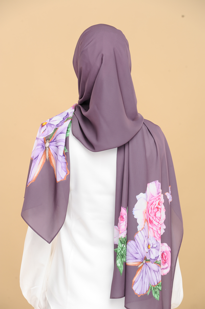 Rosey Beauty in Purple Heavy Chiffon