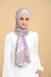 Rosey Beauty in Gray Heavy Chiffon Long Scarf