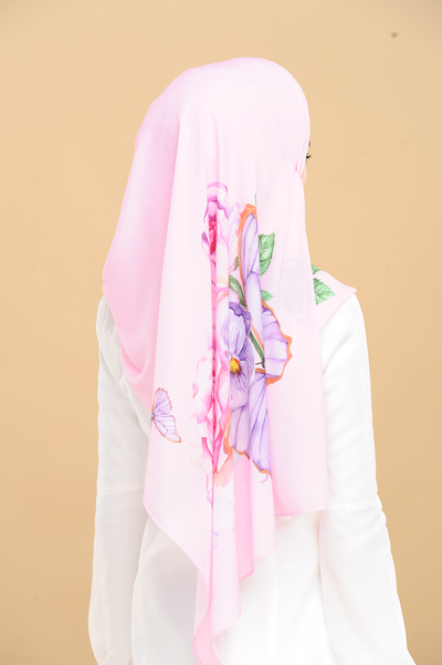 Rosey Beauty in Pink Heavy Chiffon Long Scarf